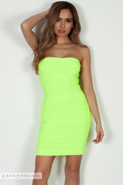"""No Feelings"" Neon Yellow Ruched Tube Mini Dress"