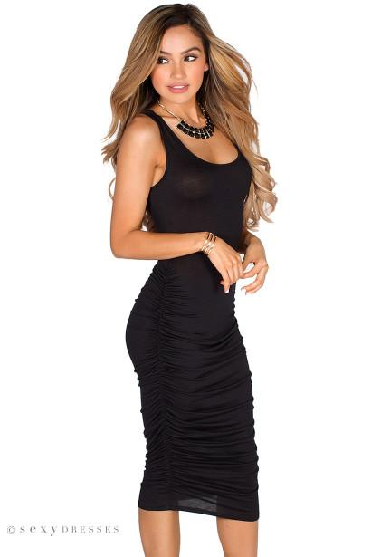 Ericka Black Ruched Bodycon Jersey Tank Midi Dress