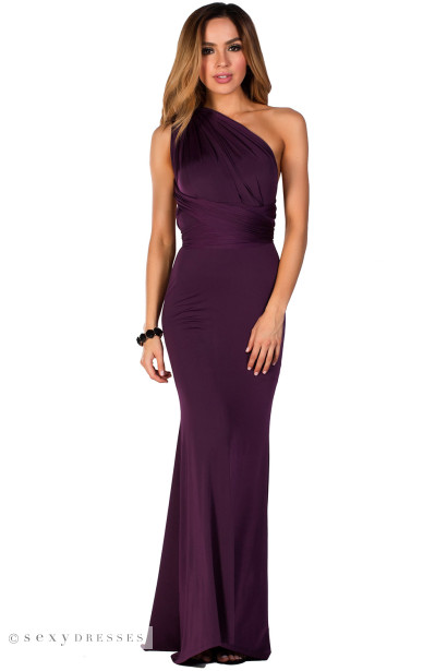 """Rose"" Purple Backless Multiway Crisscross Wrap Halter Maxi Gown"