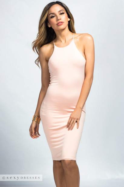 """Danara"" Blush Jersey Sleeveless High Neck Halter Bodycon Midi Dress"