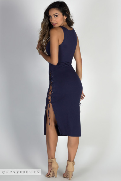"""""""No Strings Attached"""" Navy Double Lace Up V Neck Midi Dress"""