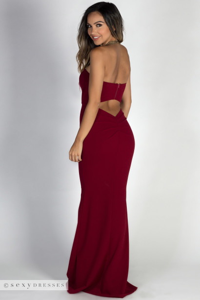 """Beauty Icon"" Burgundy Strapless Sweetheart Mermaid Maxi Gown"