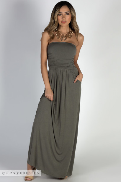 """California Sun"" Olive Strapless Tube Top Maxi Dress"
