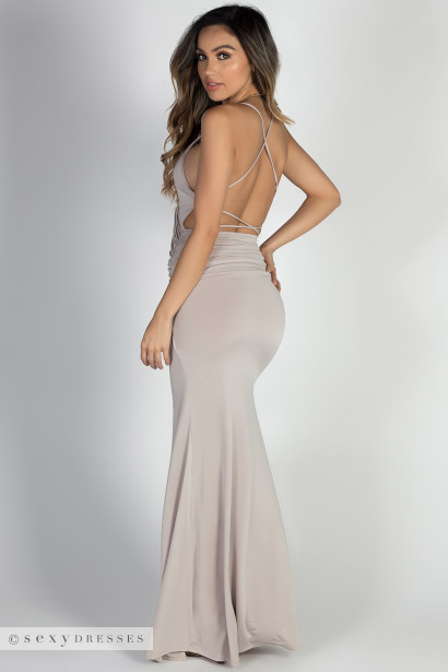 """Hollywood"" Champagne Glamorous Backless Evening Gown with Thigh High Slit"