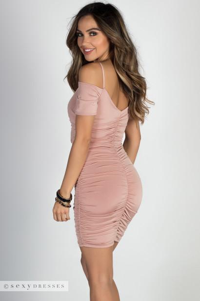 """XOXO"" Blush Off Shoulder Ruched Lace Up Dress"