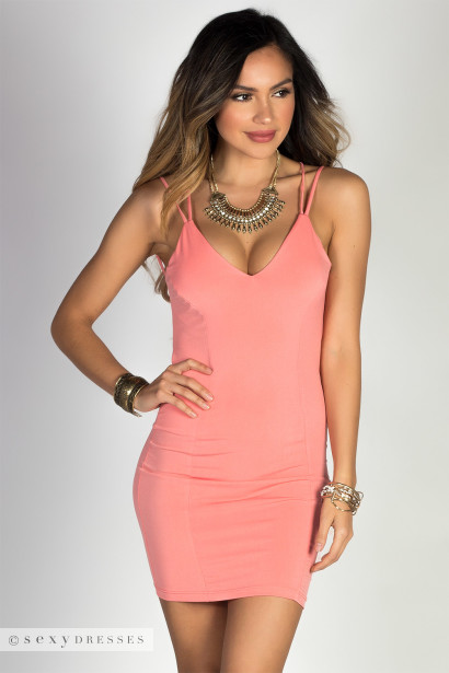 """Scarlett"" Peach V Neck Strappy Backless Dress"
