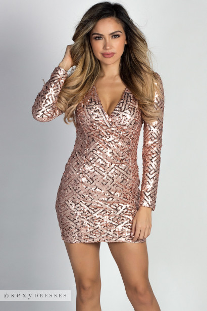 """Allegra"" Blush Geo Sequin V Neck Long Sleeve Wrap Dress"