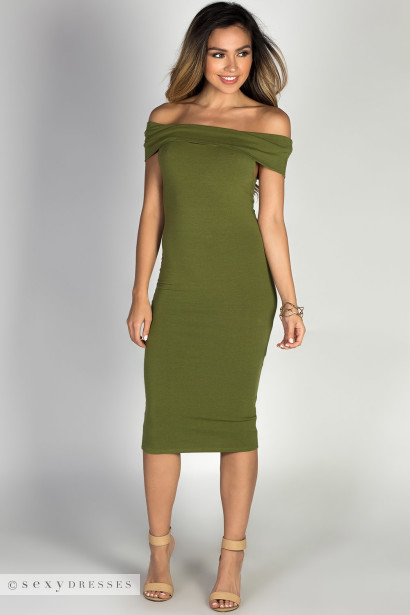 """Arianna"" Olive Off Shoulder Bodycon Midi Dress"
