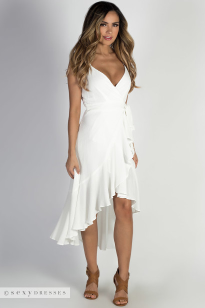 """Miracles"" Off White Spaghetti Strap Dress w/ Front Tie"