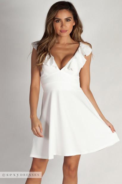 """Mine Enough"" White Ruffled Dress"