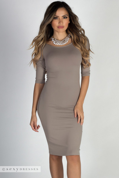 """""""Back to You"""" Taupe 3/4 Sleeve Boat Neck Scoop Back Midi Dress"""