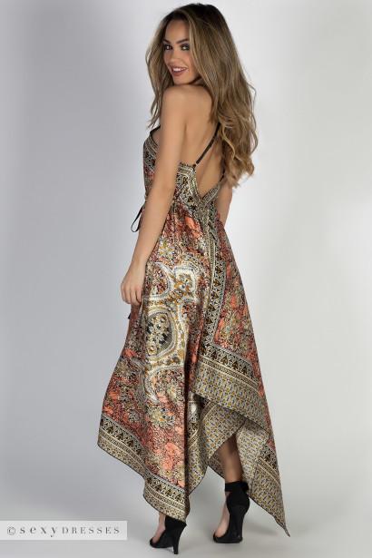 """Mimosas & Sunshine"" Olive & Coral Print Scarf Dress"