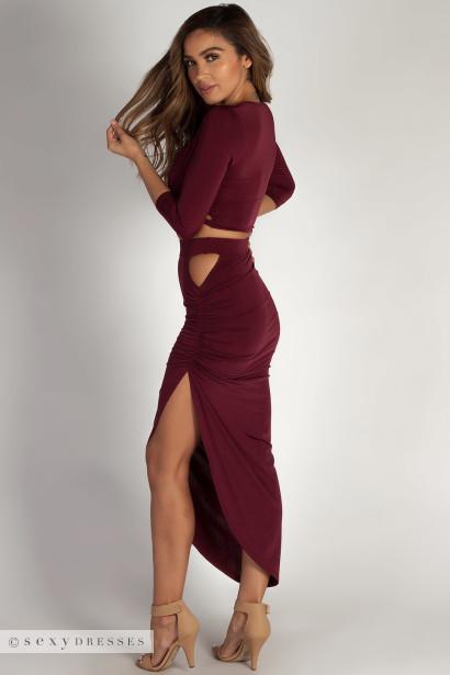 """""""In My Feelings"""" Wine Sleeved Crop Top w/ Asymmetrical Skirt"""