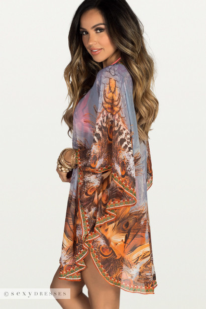 Blue Lagoon Gray & Orange Peacock Feather Print Silk Chiffon Poncho Cover Up