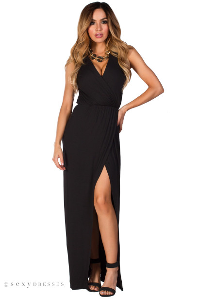 Maya Black V Neck Casual Maxi Dress With Split