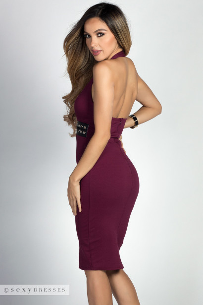 """Marietta"" Burgundy Lace Up Waist Bodycon Halter Dress"