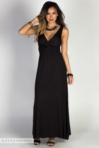 Weekend Ready Black A Line Jersey Tank Maxi Dress