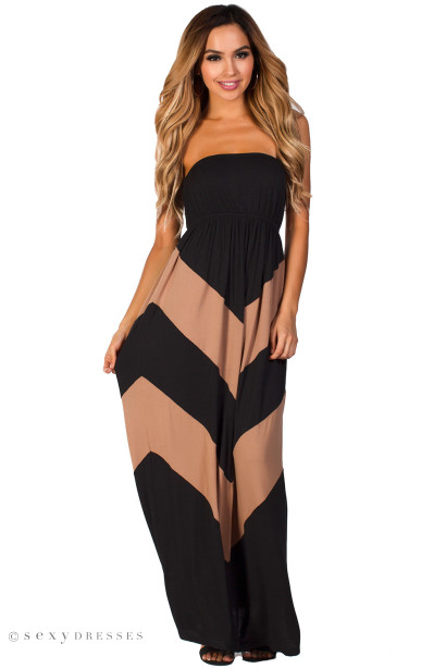 """Rafaela"" Black and Tan Graphic Chevron Strapless Summer Maxi Dress"