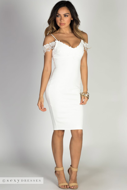 """Timeless"" White Lace Trim Off Shoulder Bodycon Ponte Midi Dress"