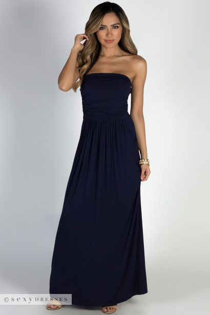 """California Sun"" Navy Strapless Tube Top Maxi Dress"