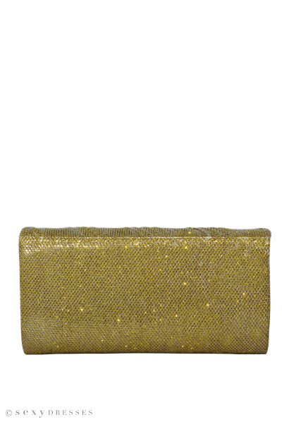 Gold Emblazoned Shimmer Clutch