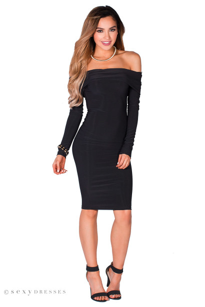 Sabine Black Long Sleeve Off Shoulder Bodycon Midi Dress