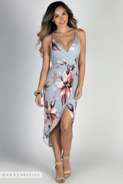 """Make a Wish"" Grey & Blush Floral Print Strappy Wrap Dress"