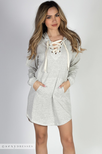 """Game Night"" Oatmeal Lace Up Hoodie Dress"
