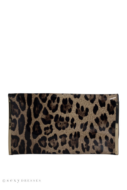 Leopard Patent Leather Clutch