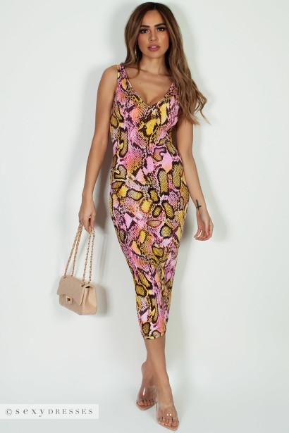 """Soleil D'Eté "" Pink Snake Print V-Neck Maxi Dress"