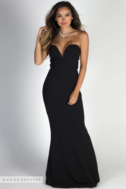 """Beauty Icon"" Black Strapless Sweetheart Mermaid Maxi Gown"