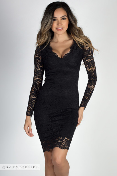 """At Last"" Black Long Sleeve V Neck Elegant Lace Dress"