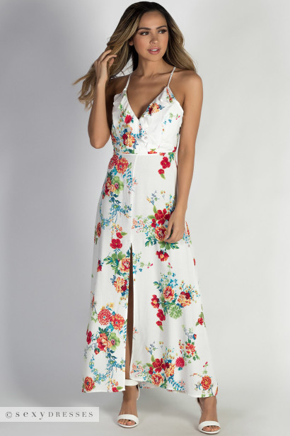 """Paradise Perfection"" White Floral Racer Back Maxi Dress"