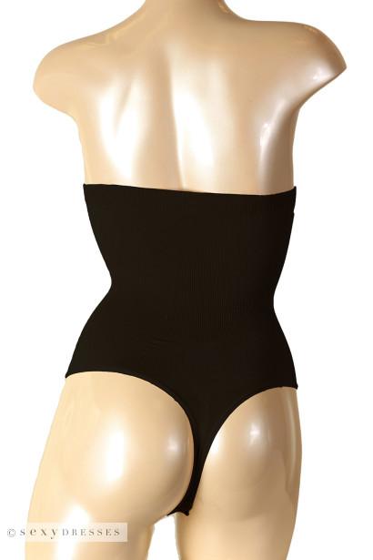 Black High Waist Tummy Control Thong Panties