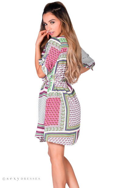"""Irma"" Pink Patchwork Print Embellished Collar Summer Tunic Dress"
