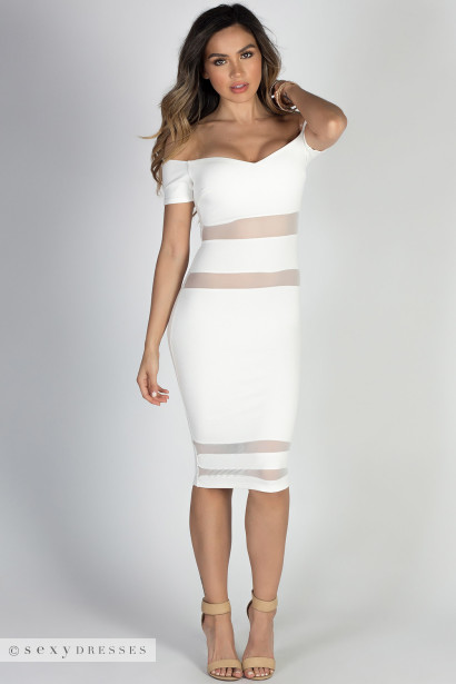"""Perfection"" Ivory Off Shoulder Mesh Cut Out Bodycon Midi Dress"