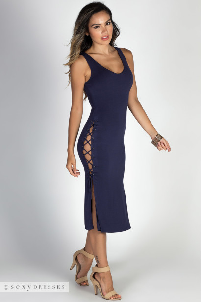 """No Strings Attached"" Navy Double Lace Up V Neck Midi Dress"