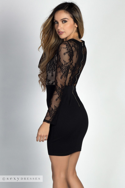 Pheonix Black Lace Long Sleeve Lace Up Bodycon Dress