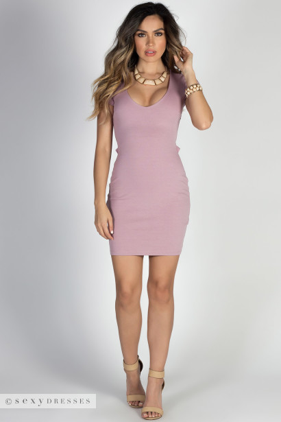 """Chase Me"" Mauve Sexy Open Lace Up Back Short Sleeve Mini Dress"