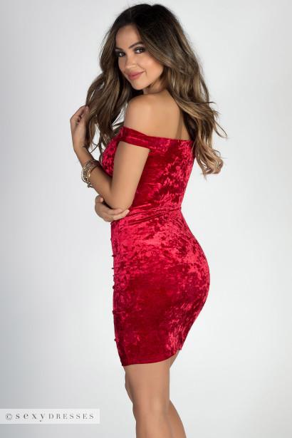 """""""My Valentine"""" Red Off Shoulder Ruched Velvet Dress"""