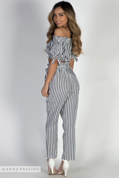 """Livin' My Best Life"" Grey Striped Pants with Front Tie"