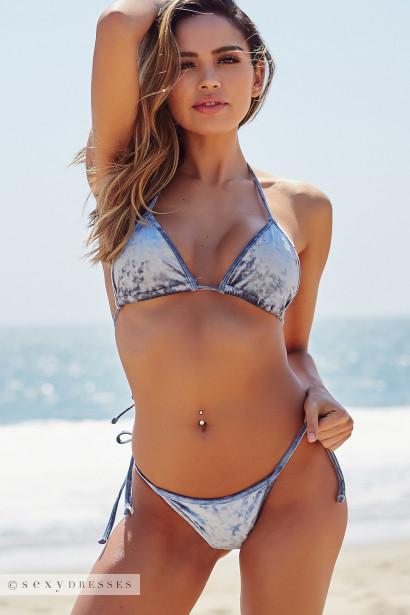 b81a19f688d75 Laguna Steel Blue Velvet Classic Bikini Top   Venice Steel Blue Velvet Mid  Rise Classic Bikini Bottoms