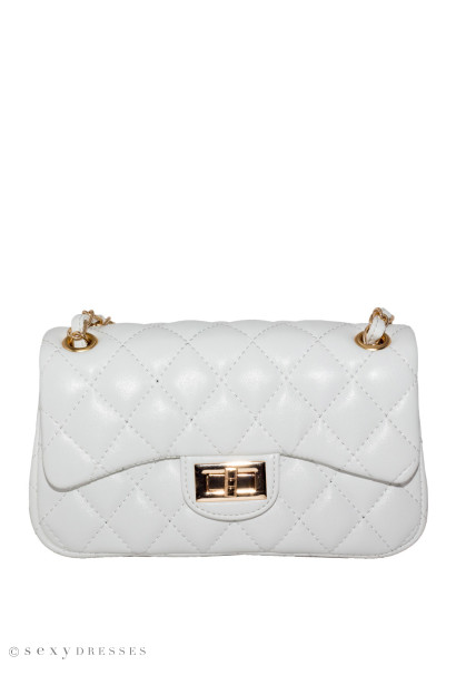 White Leather Diamond Stitch Bag