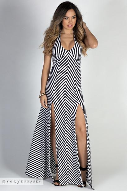 """Making Waves"" Black & White Jersey Chevron Stripe Maxi Halter Dress"