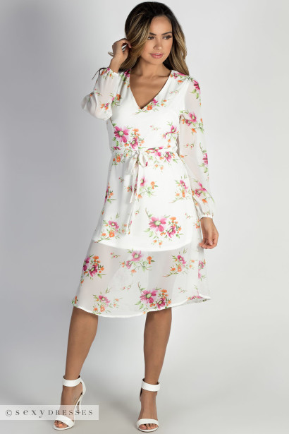 """Romantic at Heart"" White Long Sleeve Floral Dress"