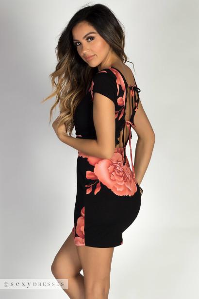 """Tea for Two"" Black & Pink Short Sleeve Floral Print Belted Sheath Dress"