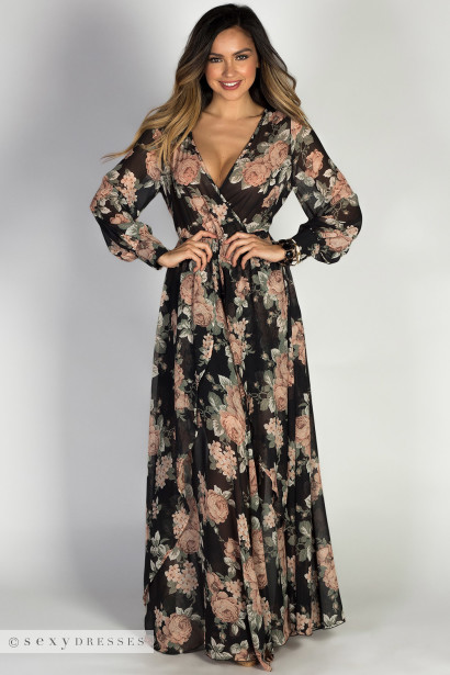 Mar 30,  · Black Chiffon Long Sleeve Flower Print Maxi Dress distrib-wq9rfuqq.tk