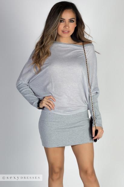"""With You"" Gray Sparkles Asymmetrical Dolman Sweatshirt Dress"