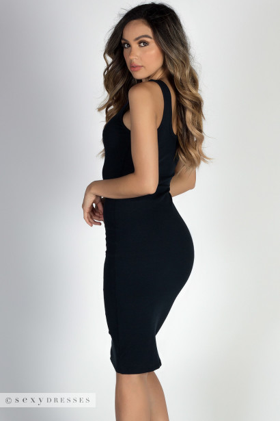 """Believe"" Black Lightweight Scoop Neck Bodycon Tank Midi Dress"