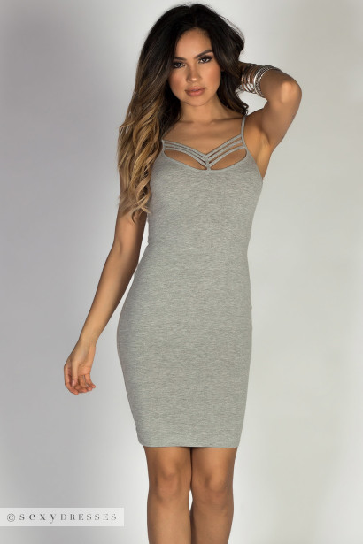 """Made to Love"" Heather Gray Strappy Caged Neckline Bodycon Mini Dress"